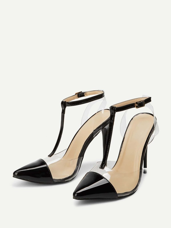 c4ea4f12c0 Cap Toe Clear Panel High Heels | SHEIN