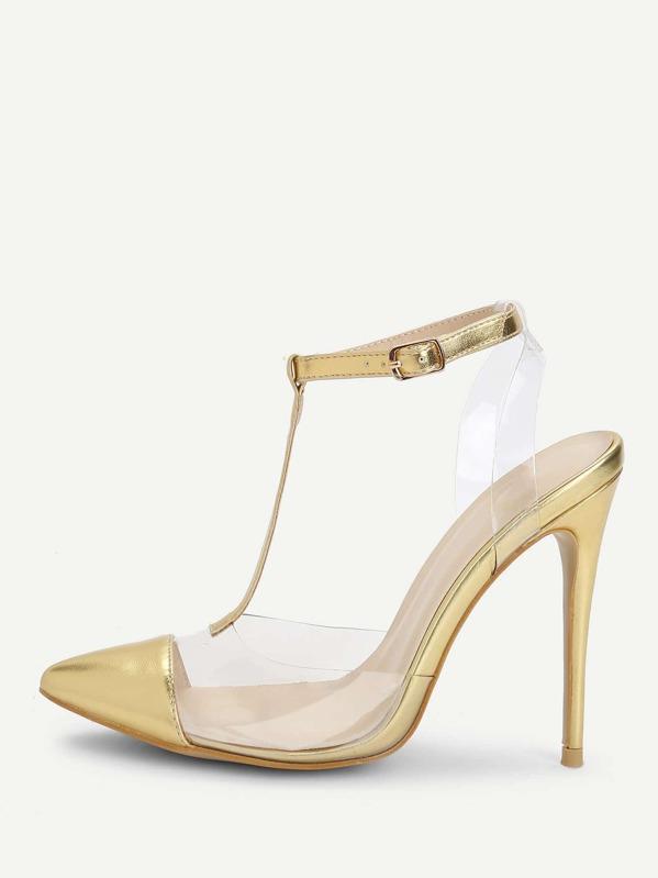 f9de533310 Cap Toe Clear Panel High Heels | SHEIN UK