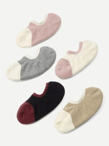 Two Tone Cotton Socks 5Pairs