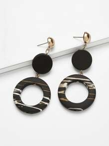 Disc & Ring Design Drop Earrings 1pair