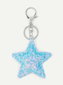 Sequin Star Design Keychain