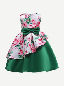 Toddler Girls Tie Detail Floral Print Box Pleated Tiered Dress