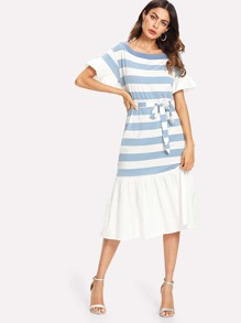 Ruffle Hem Tie Waist Stripe Dress