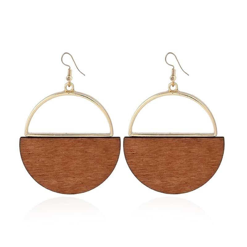 - Two Tone Round Drop Earrings