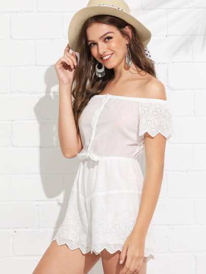 30ac5ffc37ac Knot Detail Button Front Eyelet Embroidered Bardot Romper