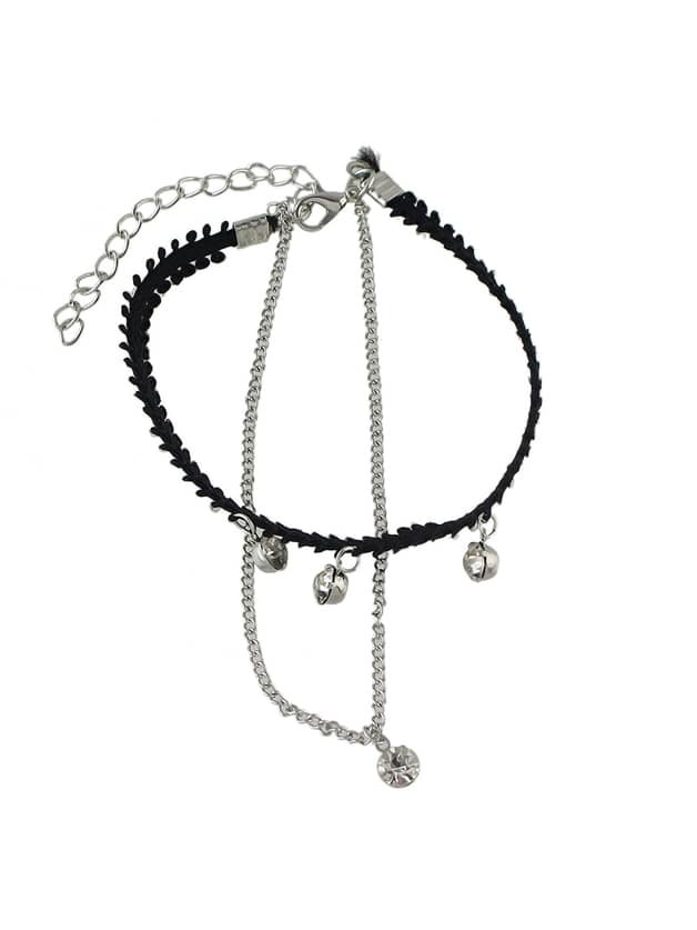 Black Rope Silver Chain Anklets Romwe