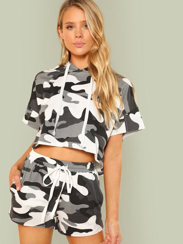 228b314b5 Cheap Camo Print Crop Hoodie and Shorts Set for sale Australia | SHEIN