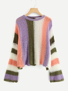 Color Block Loose Knit Sweater