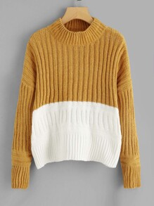 Two Tone Drop Shoulder Jumper