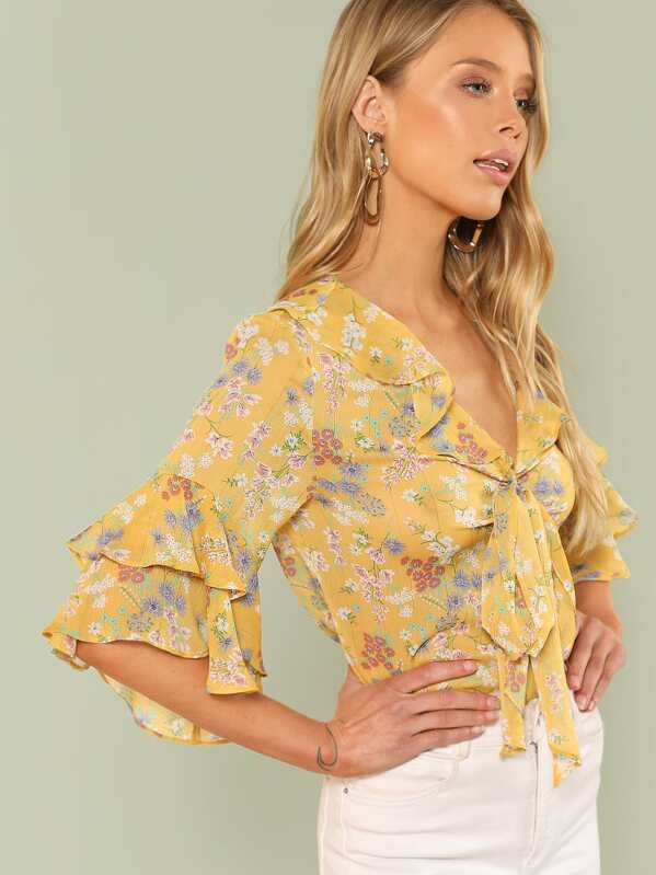 367549a22d Tie Neck Layered Flounce Sleeve Floral Top | SHEIN UK