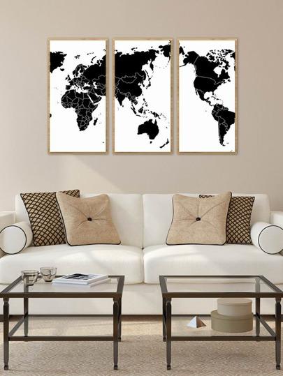 World Map Cloth Art 3pcsFor Women-romwe