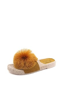 Pom Pom Decorated Espadrille Slippers