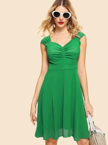 Ruched Detail Fit & Flare Dress