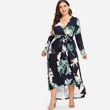 Plus Palm Leaf Print Wrap Dress dress180515432