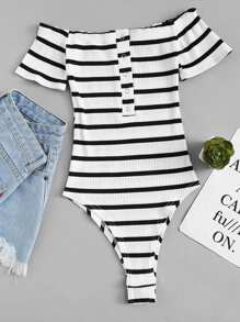 Off Shoulder Striped Ribbed Bodysuit