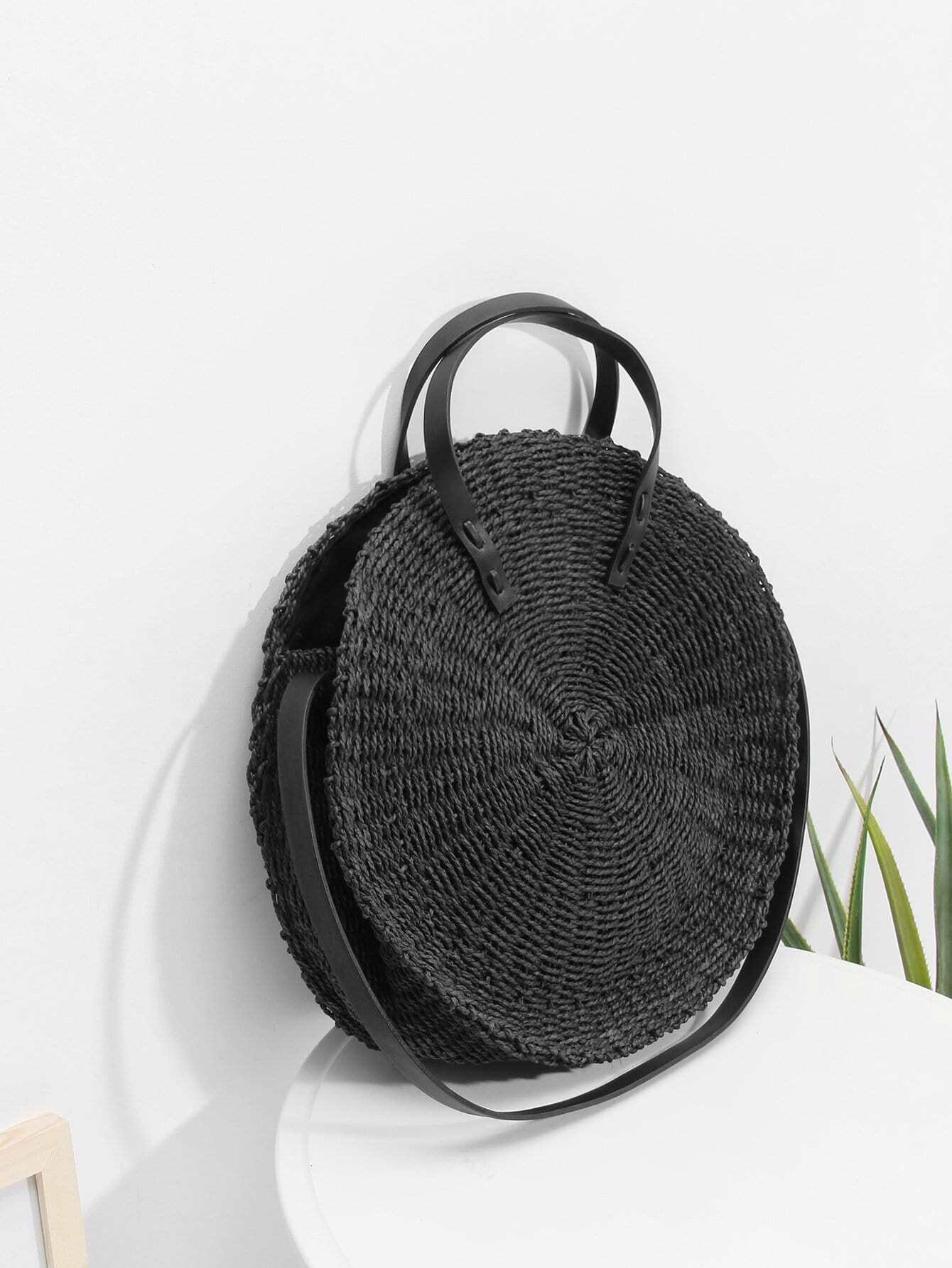 runde stroh tasche und umwandelbarem riemen german shein sheinside. Black Bedroom Furniture Sets. Home Design Ideas