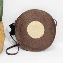 Round Shaped Straw Bag With Pom Pom