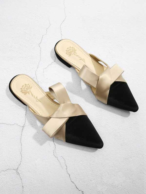 Knot Design Pointed Toe Slippers by Sheinside