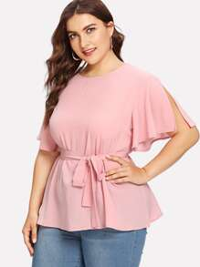 Plus Split Sleeve Belted Detail Top