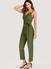 Self Tie Waist Pleated Detail Jumpsuit