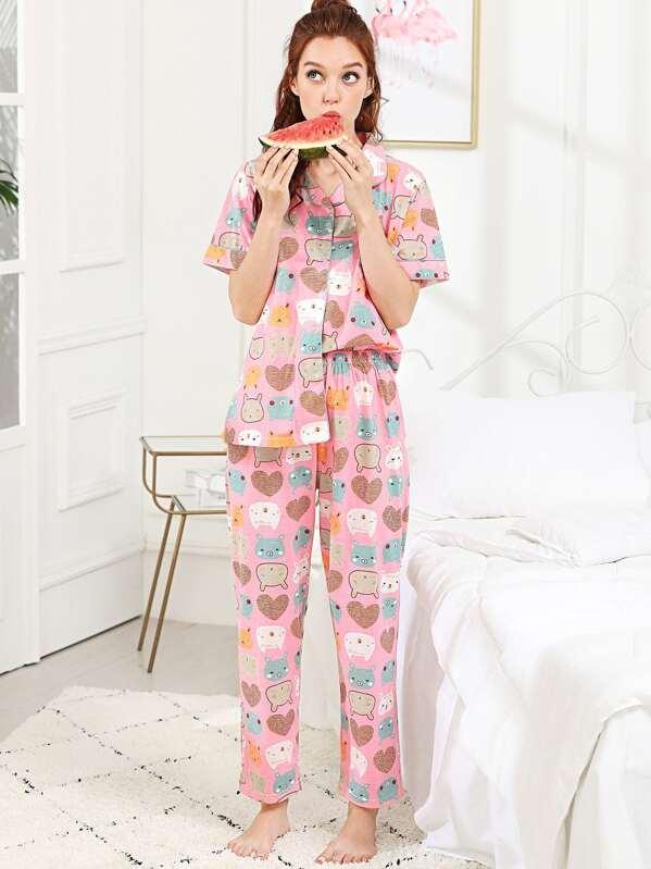 e6286c79a9 All Over Cartoon Print Pajama Set | SHEIN