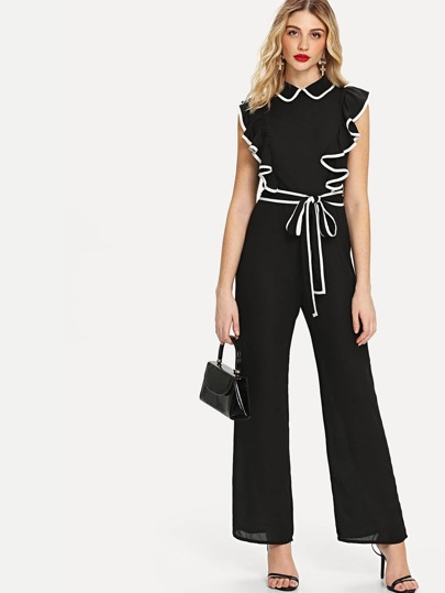 31b886e535 Ruffle Armhole Self Belted Wide Leg Jumpsuit