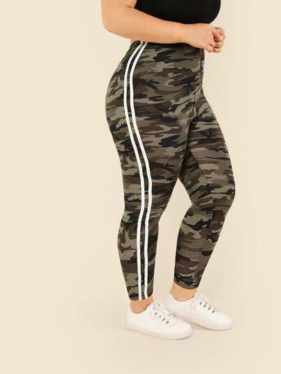 Plus Contrast Striped Side Camo Print Leggings 81a2356a075