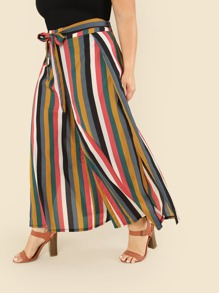 Plus Knot Front Wide Leg Striped Pants