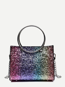 Ring Handle Glitter Chain Bag