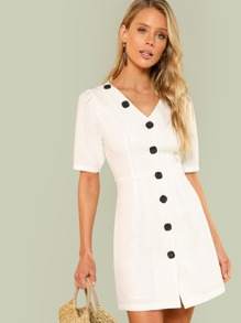 V Neck Button Up Dress