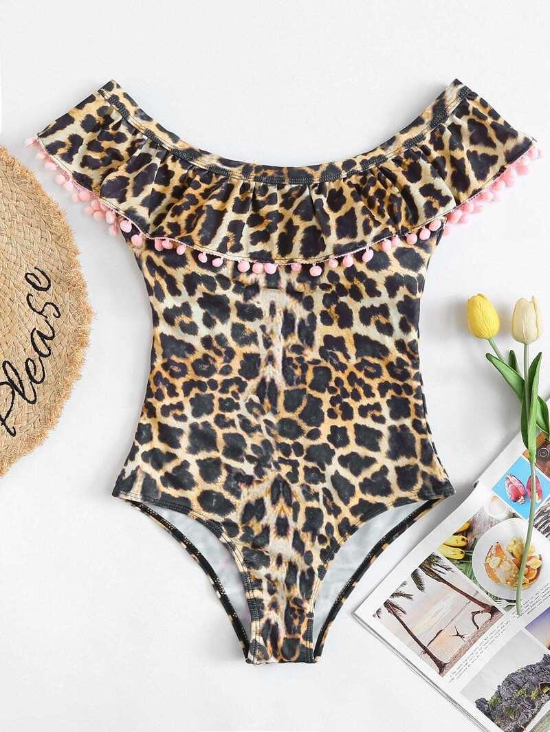 921591f89c Maillot de bain imprimé léopard avec pompon | ROMWE