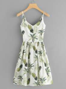Pineapple Print Pleated Back Cami Dress