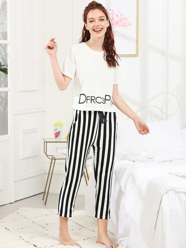 f29094fc5 Cheap Letter Print Top   Striped Pants PJ Set for sale Australia
