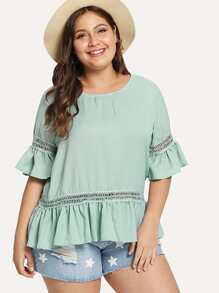Plus Ruffle Hem Hollow Out Top