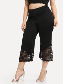 Plus Lace Panel Hem Pants
