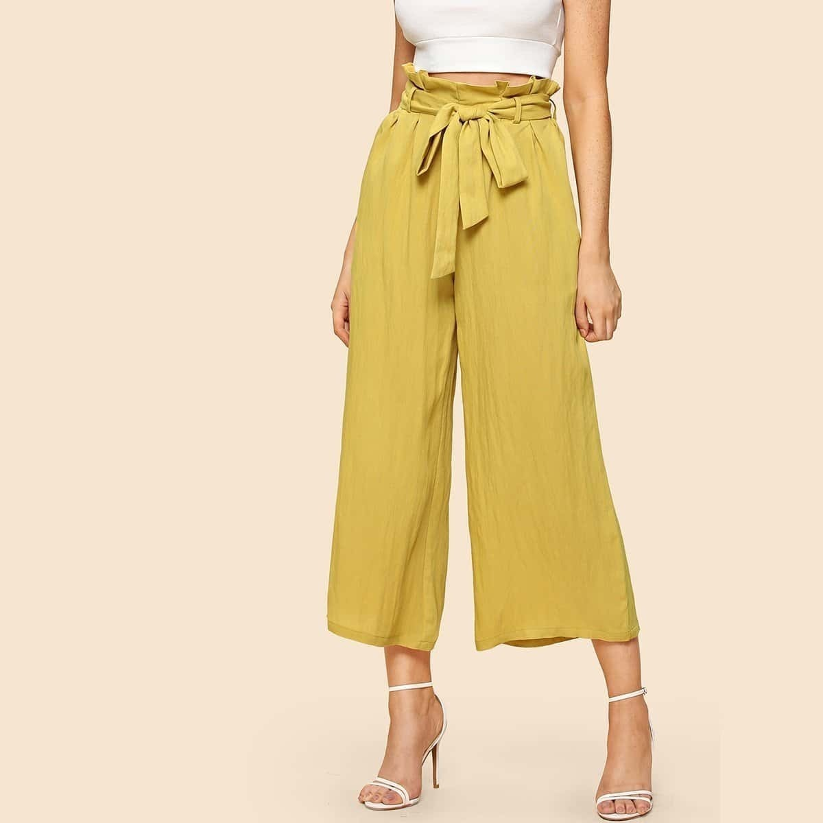 - Belted Ruffle Waist Culotte Pants