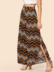Chevron Print Wide Leg Pants