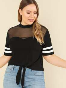 mesh shoulder striped sleeve knot front tee