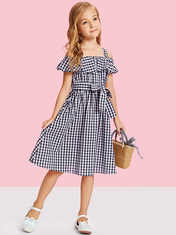 3c8e4bc188 Girls Flounce Cold Shoulder Gingham Dress with Belt | SHEIN