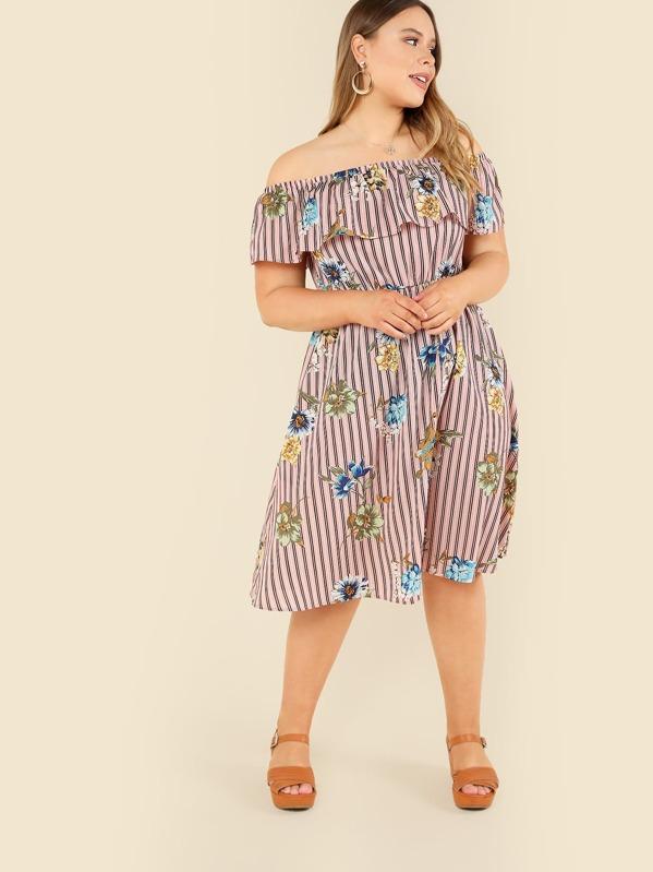 b6358f32d9 Plus Flower Embroidered Striped Flounce Bardot Dress   SHEIN UK