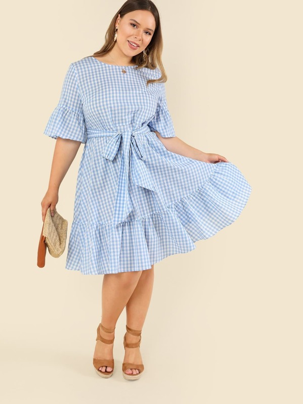 Plus Ruffle Cuff and Hem Plaid Dress