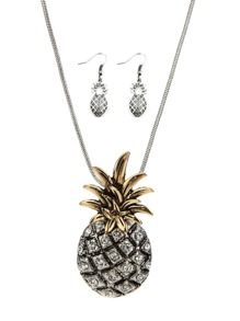 Pineapple Design Pendant Necklace & Earrings 1pair