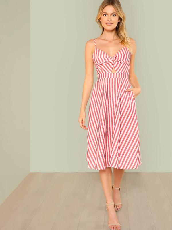 c24c5df3d5 Twist Peekaboo Knot Back Striped Cami Dress | SHEIN UK