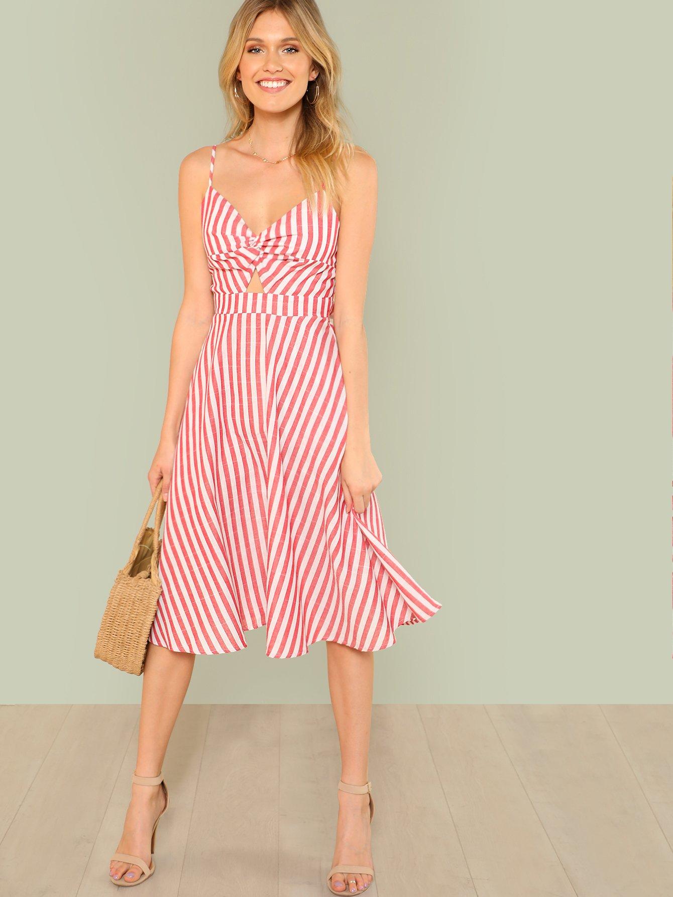 Twist Peekaboo Knot Back Striped Cami Dress Shein In