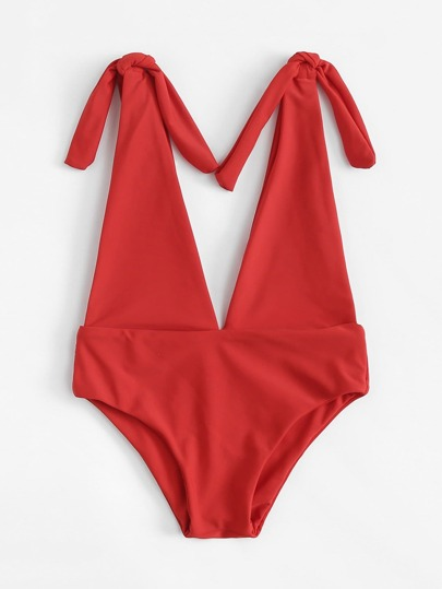 Kids V Plunge Neck Swimsuit