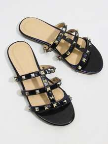 Rockstud Detail Strappy Flat Sandals