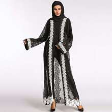 Lace Crochet Contrast See Through Abaya