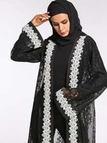 9a82c2a9ec Lace Crochet Contrast See Through Abaya | SHEIN UK