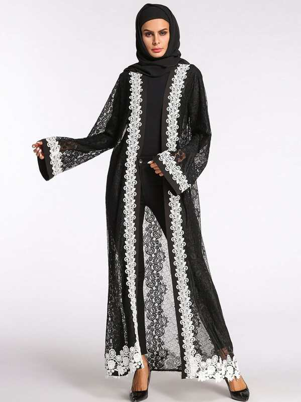 b1ff152725 Lace Crochet Contrast See Through Abaya | SHEIN