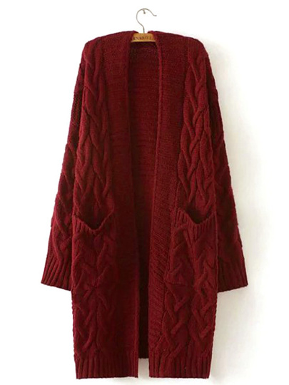 Solid Drop Shoulder Cable Knit Coat